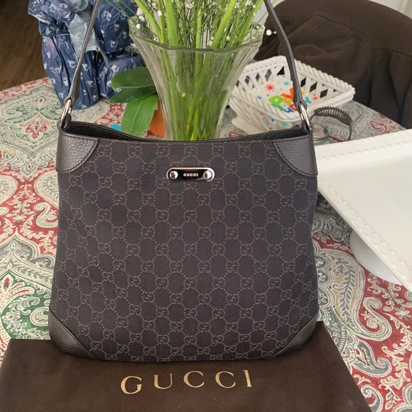 Authentic Gucci GG canvas/ leather hobo bag